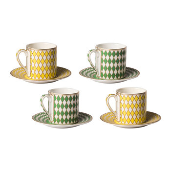 Chess Espresso Cup & Saucer - Set of 4 - Yellow/Green
