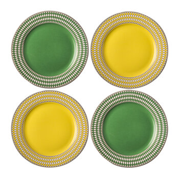 Chess Side Plate - Set Of 4 - Yellow/Green