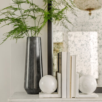 Marble Ball Bookends - White