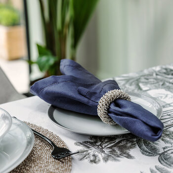 Beaded Napkin Rings - Set of 4 - Taupe