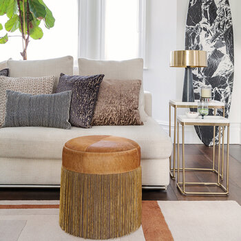 Cowhide Chain Pouf - Tan