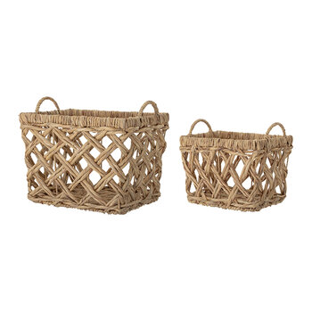 Wicker Water Hyacinth Baskets - Set of 2 - Natural