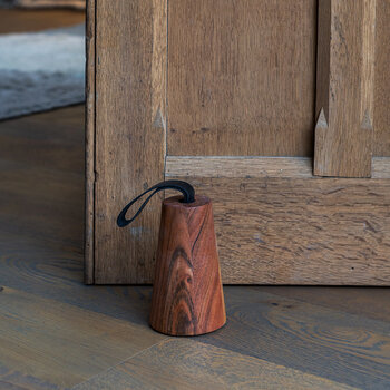 Wooden Doorstop With Leather Handle - Cone