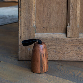 Wooden Doorstop With Leather Handle - Round