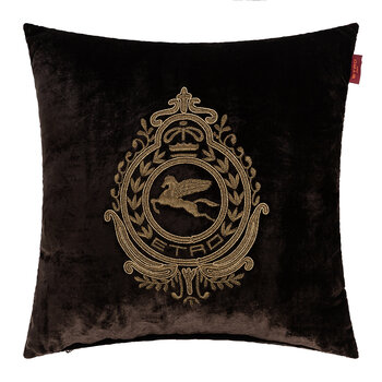 Crest Embroidered Pillow 45x45cm - Brown