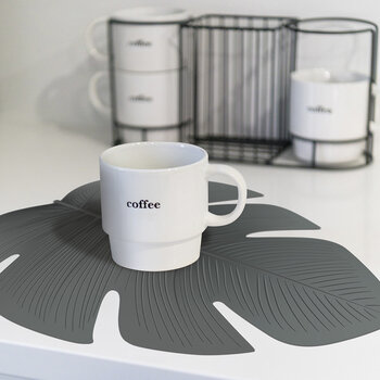 Monstera Leaf Placemat - Grey