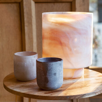 Coloured Buried Glass Candle - Cream