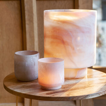 Footed Coloured Buried Glass Tealight Holder - Set of 2 - Pink