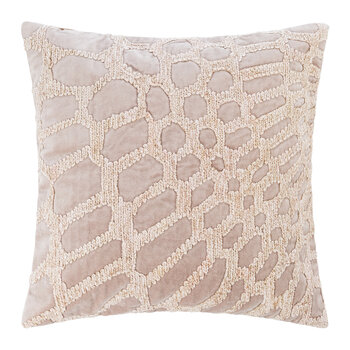Embroidered Chenille Pillow - 45x45cm - Mushroom