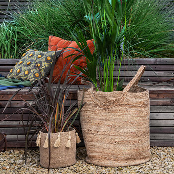Seagrass Tassel Trim Basket - Natural - Set of 2 - Natural