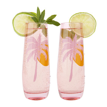 Cheers Stemless Champagne Flutes - Set of 2 - Desert Palms - Powder Pink