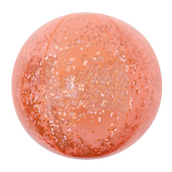 Inflatable Beach Ball - Glitter - Neon Coral