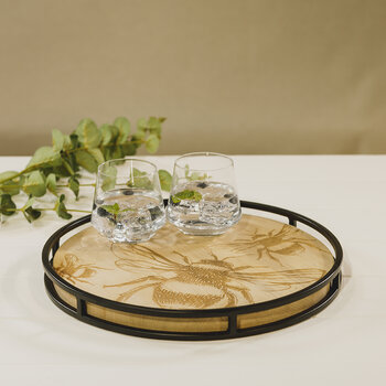 Metal framed Sycamore Serving tray - Round