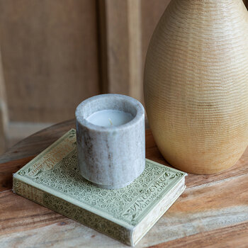 Footed Marble Candle