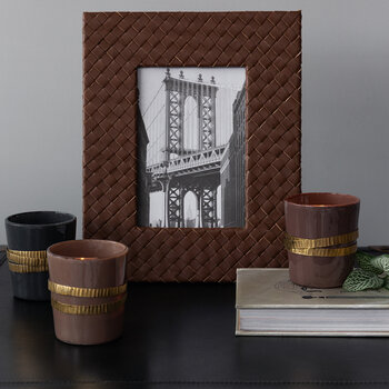 "Leather Stud Photo Frame - 5x7"" - Brown"