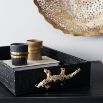 Croc Tray with Gold Croc Handle