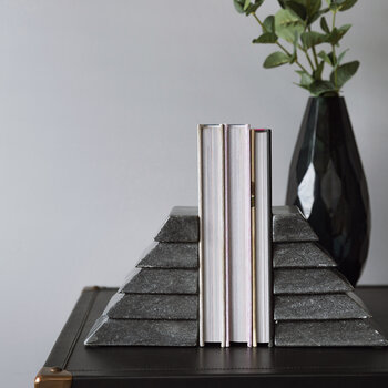 Stacked Marble Bookend - Black