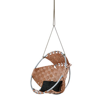 Indoor Cacoon Hang Chair - Natural Leather
