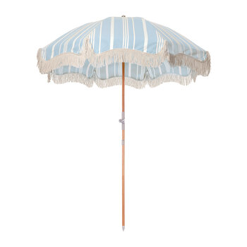 Premium Beach Umbrella - Vintage Blue Stripe