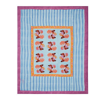 Bunch Of Roses Bedspread - Blue