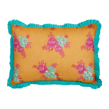 Flower Bunches Pillow - Mustard/Turquoise