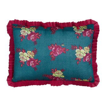 Flower Bunches Cushion - Teal/Purple