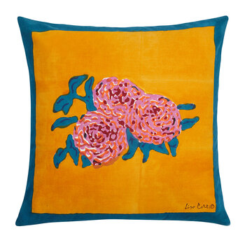 Coussin Three Roses - Moutarde/Sarcelle