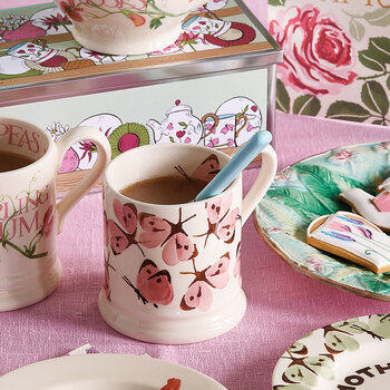 Pink Cabbage White Butterfly Mug - Large