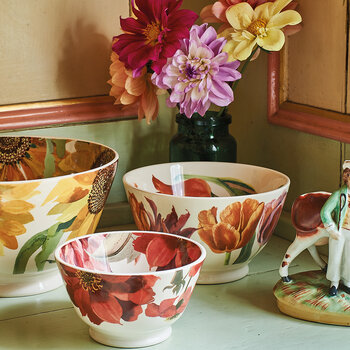 Flowers Red & Pink Dahlias Dip Bowl - Small