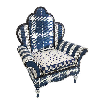 Boathouse Outdoor Wing Chair - Blue/White
