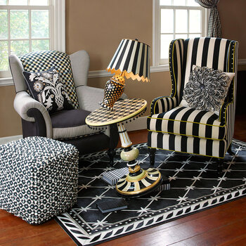 Marquee Wing Chair - Chenille Black Stripe