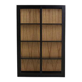 Bel Wall Cabinet with Sliding Doors - Black