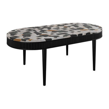 Mausam Oval Coffee Table - Black Ash/Terazzo