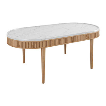 Mausam Oval Coffee Table - Natural Ash/White
