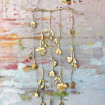 Floral Wall Hanging - Gold