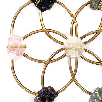 Flower of Life Healing Crystal Grid - Small - White/Gold