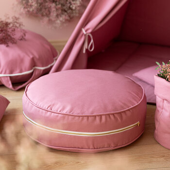 Pouf Rond - Rose Tendre