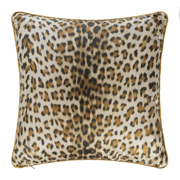 Tiger Leopard Silk Cushion - Gold