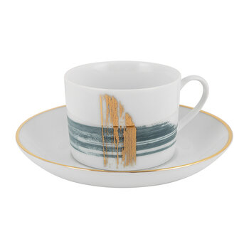 Artisan Brush Western Teacup With Saucer - Set Of 2