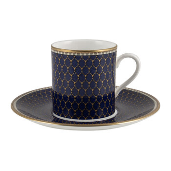 Gordon Castle Antler Trellis Coffee Cup & Saucer - Midnight