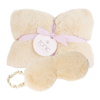 Deluxe Heat Pillow & Eye Mask Set - Caramel Cream