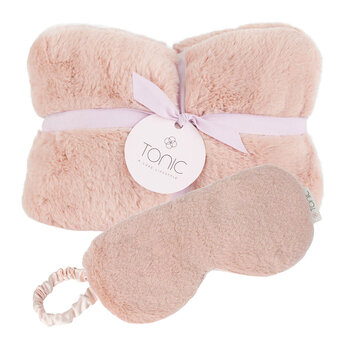 Deluxe Heat Pillow & Eye Mask Set - Dusty Rose