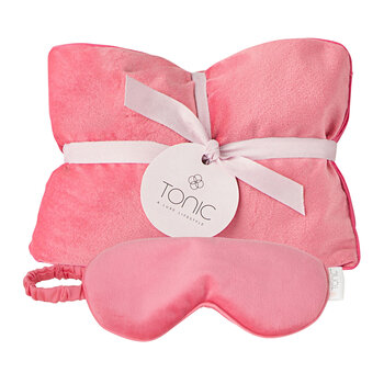 Luxe Velvet Heat Pillow & Eye Mask Set - Coral