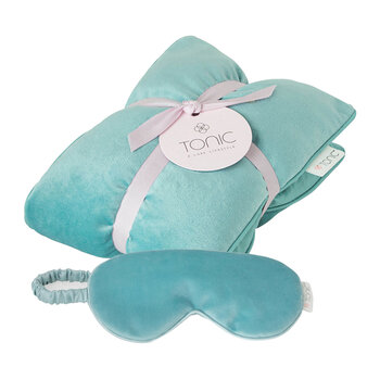 Luxe Velvet Heat Pillow & Eye Mask Set - Sea Foam