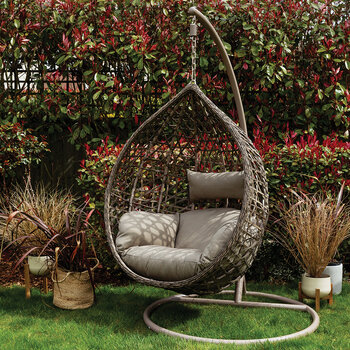 Outdoor Textured Wicker Hanging Chair - Taupe