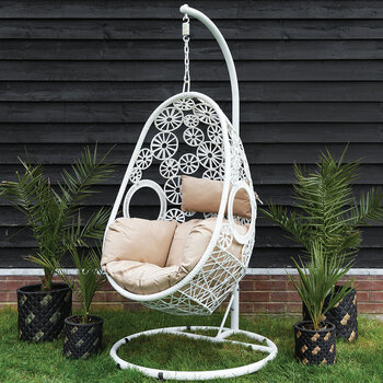 Outdoor Woven Hanging Chair - White