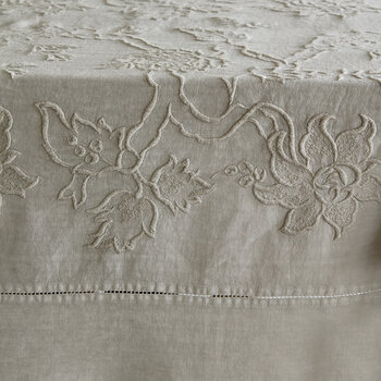 Embroidered Tablecloth - 170x250cm - Beige