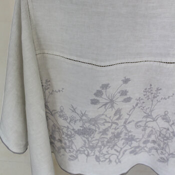 Washed Linen Embroidered Tablecloth - 170x250cm - Lavender