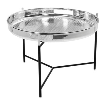 Duo Side Table With Tray - Satin Silver - 50cm