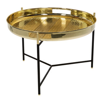 Duo Side Table With Tray - Shiny Brass - 50cm